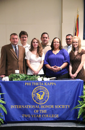 Belmont College Fall 2013 Phi Theta Kappa inductees (left to right; front to back): Theodore Tannehill; Sarah Westlake; Deanna Austin; Brittany Gallagher; Malachi Benesh; Jason Berger; and Timothy Gummerson.