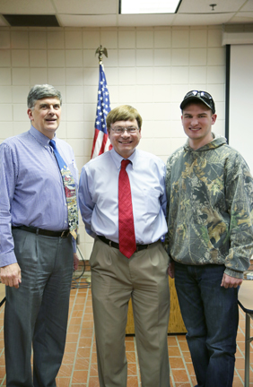 Pictured (left to right): Ed Mowrer, Operations Manager, Energy Institute; Presenter Greg Kozera; and Industrial Electronics major Hunter Kelch.