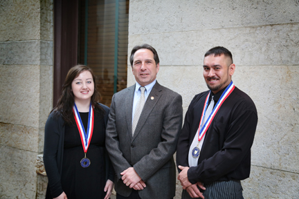 Pictured: All-Ohio Academic Team Members Ashlyn Grose (left) and Timothy Gummerson (right) at the Ohio Statehouse with Representative Jack Cera (center).