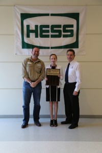 "Pictured: Francesca Boni (center) from Steubenville, Ohio receives congratulations from Andrew Keck, Senior Land Negotiator Hess Corporation (left), and Dr. Paul Gasparro, Belmont College President (right). Boni was awarded the first place Belmont College President's Award for her project titled ""Which Grows Lettuce Faster: The Hydroponics System or Regular Soil?"""