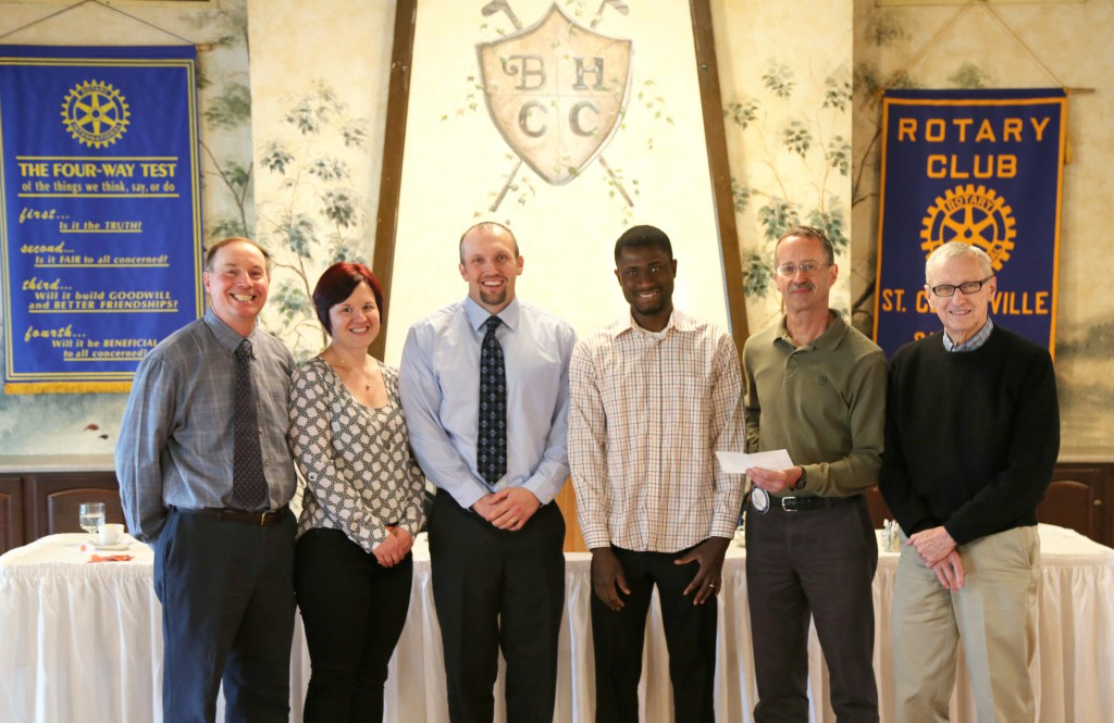 From left to right:  Chuck Dawson, Belmont College Professor and Rotary Member; Jessica Puglisi-Sanders, Rotary Member and Scholarship Committee Member; Mike Deemer, Rotary President; Akwasi Agyeman-Prempeh, Scholarship Recipient; Jeff Vaughn, Rotary Member and Scholarship Committee Chair; and Jack McClain, Rotary Treasurer.