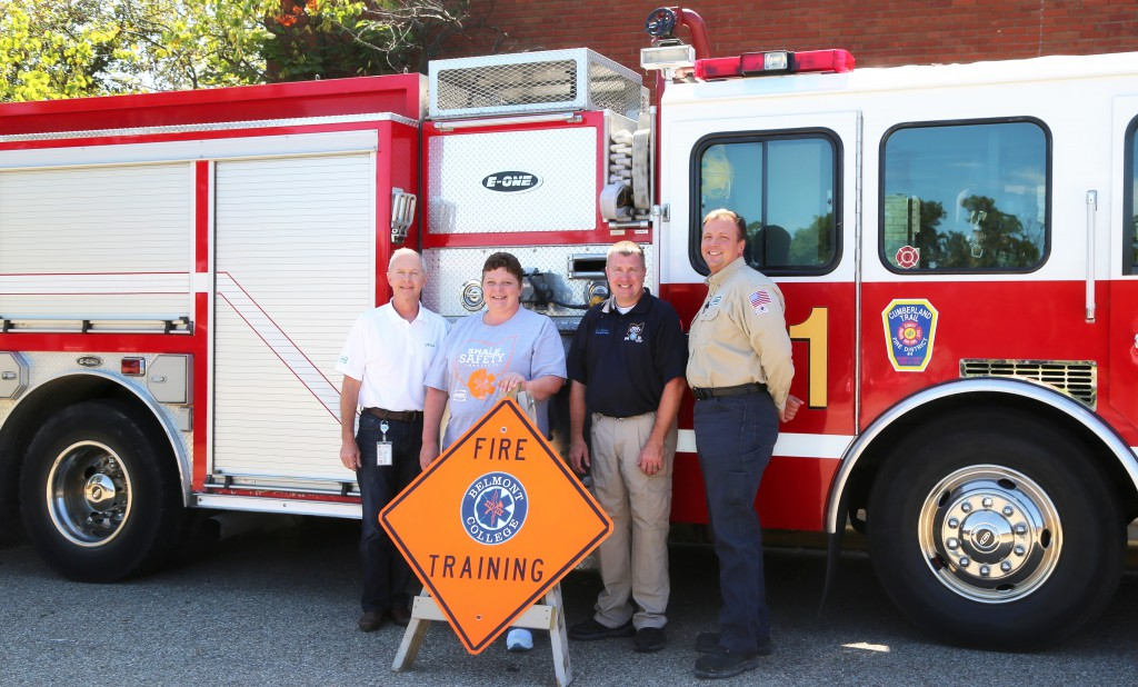 Photo Caption (from left to right): Rob Williams, Hess Manager of Operations, Utica; Ailsa Vogelsang, Belmont College EMS/Fire Safety Coordinator; Curtis Kyer, Belmont College Assistant EMS and Fire Coordinator; and  Ben Badon, Hess Manager, Utica EHS.