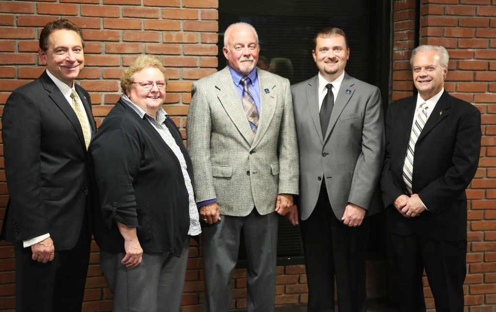Pictured (from left to right): Dr. Paul Gasparro, President; Mrs. Elizabeth Gates, Board of Trustees Chair, Col. Wayne A. Smith, Mr. Edward D. Eberhart, and Attorney Richard Myser.