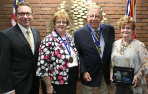 "Photo caption (from left to right): Dr. Paul Gasparro, Belmont College President; Cheryl Cassis; Robert ""Scat"" Scatterday, Associate Professor Emeritus; and Dr. Lorrinda Saxby, Heritage Tree award recipient."