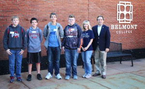 Pictured (left to right): Brent Wodarcyk, St. Clairsville Middle; Jared Morgan, St. Clairsville Middle; Hunter Comstock, Woodsfield Middle; Drew Garey, Woodsfield Middle; Annmarie O'Grady, Belmont College Tech Prep Coordinator; and State Representative Jack Cera.