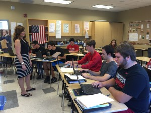Photo Caption: Becky Hall teaches a College Credit Plus English 1110 class to River High school students; the Belmont College class is held at the high school.