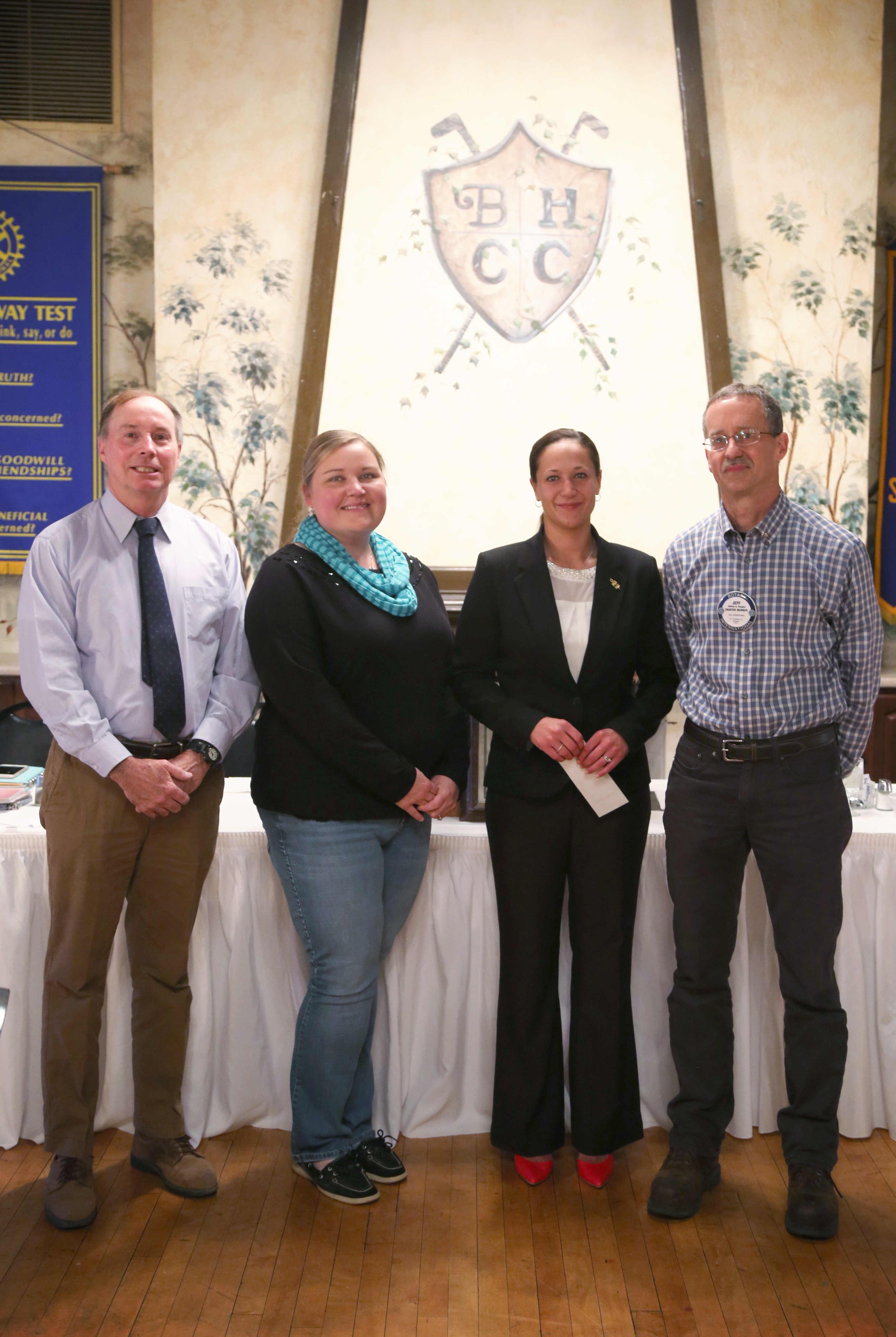 Pictured (left to right): Chuck Dawson, Belmont College Professor and Rotary Member; Rebecca Fabry- Sunrise Rotary President; Amanda Teeman, Scholarship Recipient; and Jeff Vaughn, Sunrise Rotary Scholarship Committee Chair.