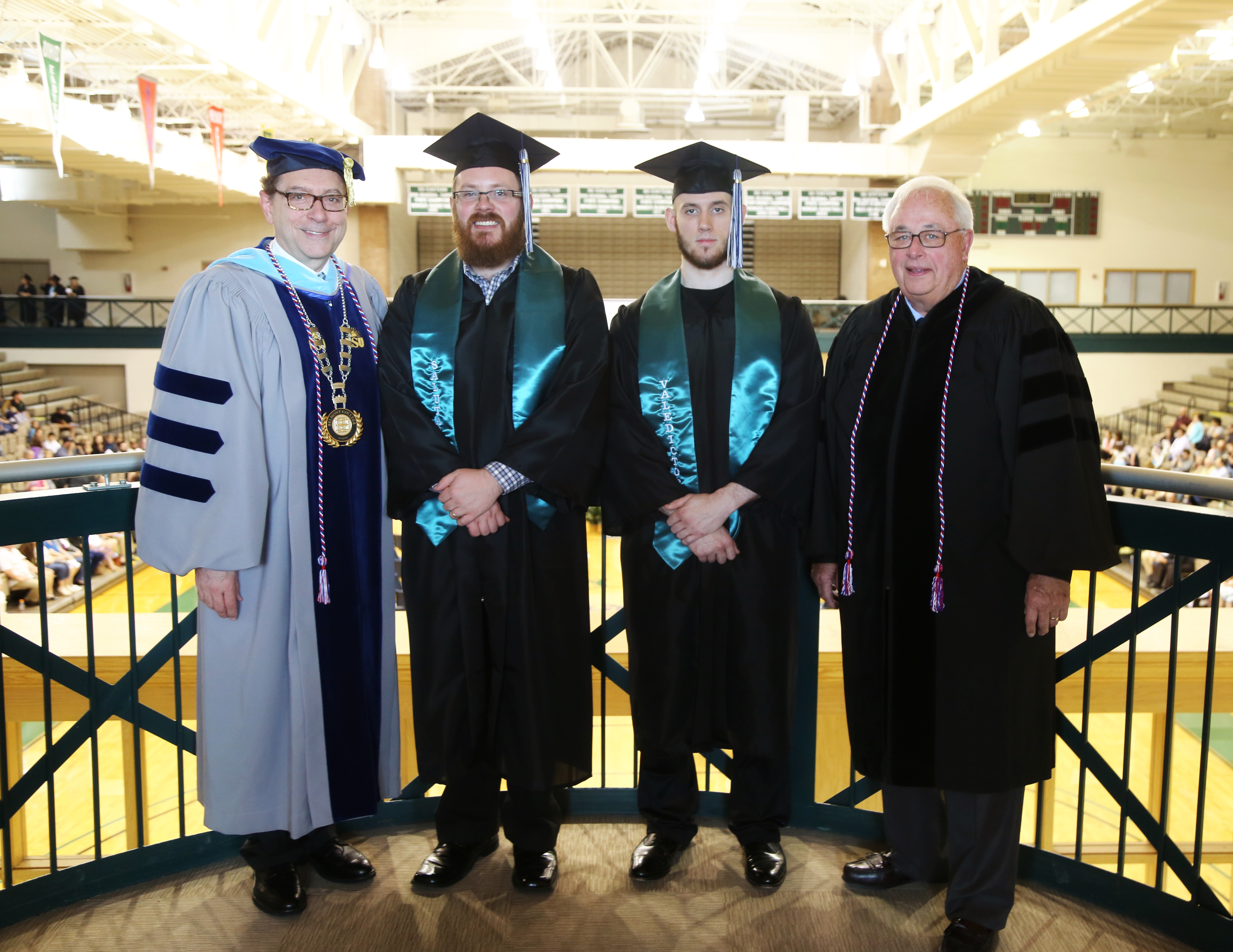 Attached photo (left to right):  Dr. Paul Gasparro,Belmont College President; Nicholas Jacobs, Co-Salutatorian; Jared Allen, Valedictorian; and  St. Clairsville Mayor Terry Pugh, who served as commencement speaker.