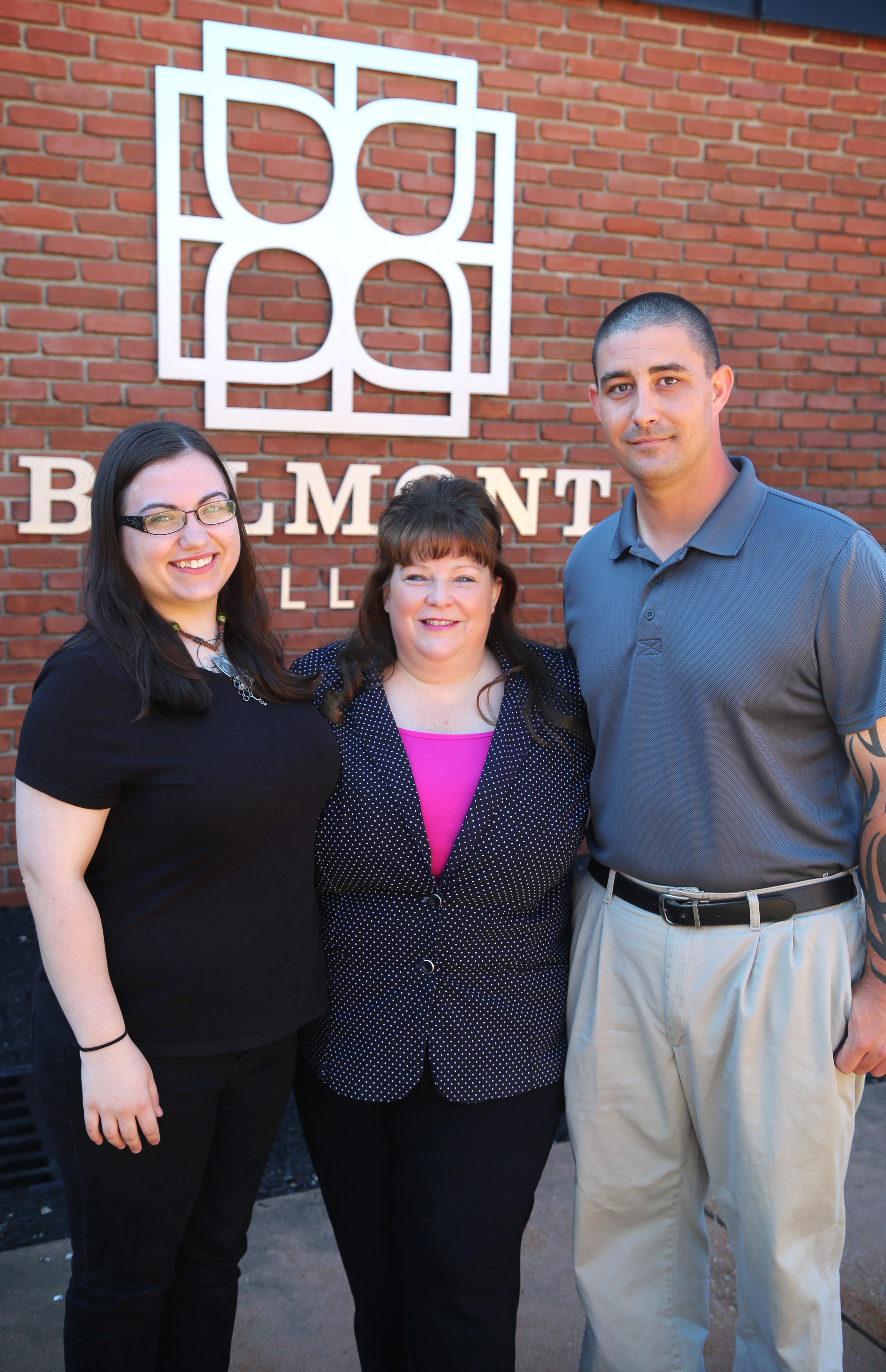 Criminal Justice Program Chair Desiree Lyonette (center); second-year Criminal Justice student student Megan Turner and first-year Criminal Justice student Ryan Taylor.