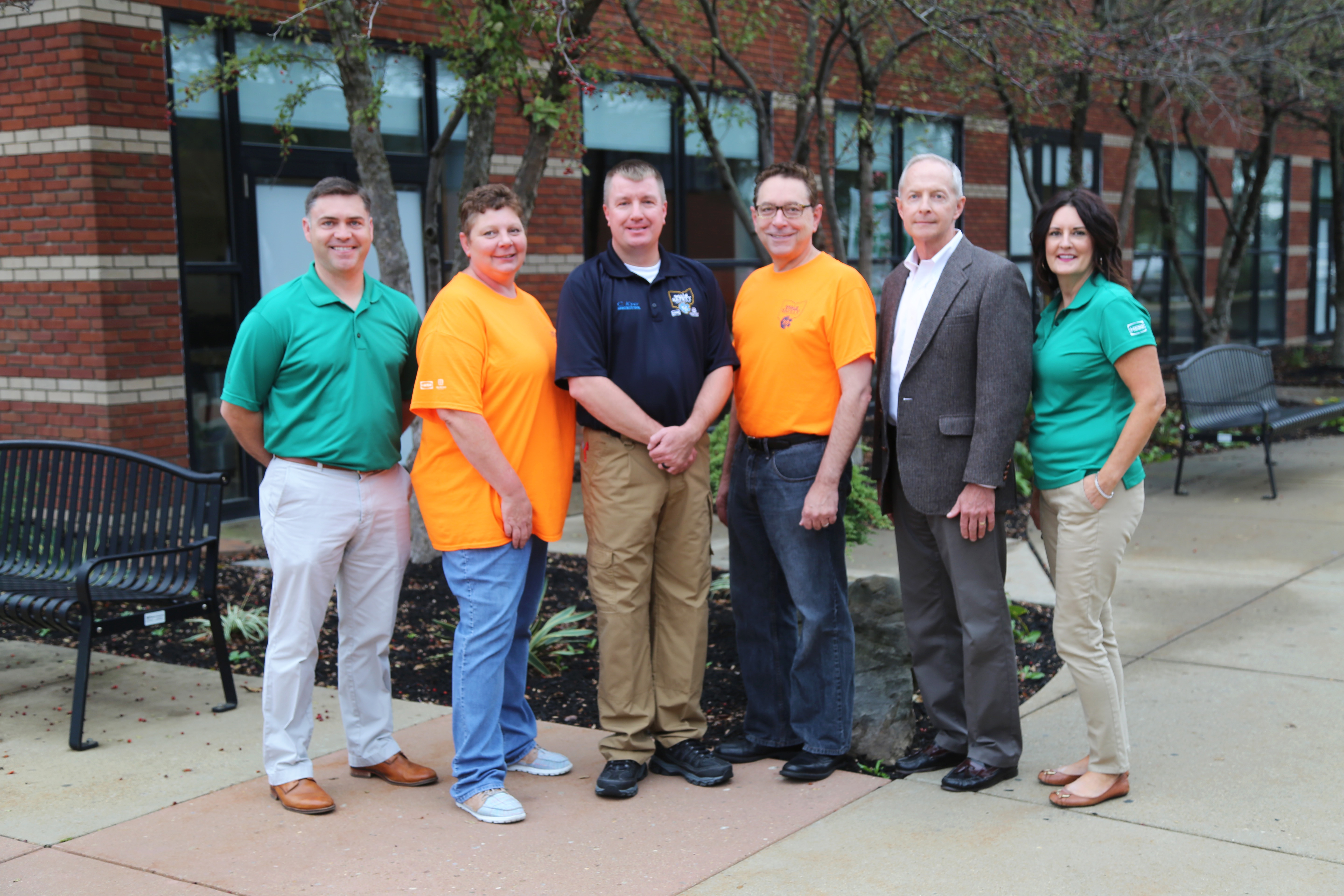 Photo caption (left to right): Liam McConvile, Hess Utica Lead; Ailsa Vogelsang, Belmont College EMS/Fire Safety Coordinator; Curtis Kyer, EMS Fire Safety Program Assistant; Dr. Paul Gasparro, Belmont College President; Rob Williams, Hess Operations Manager; and Glenda Harlan, Hess Social Responsibility Chair.